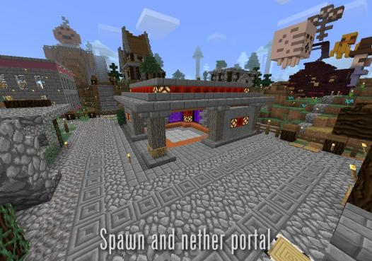 Spawn and nether portal (overworld)