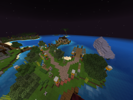 View of Fishing Pier, Boat Harbor, and XP Island in distance