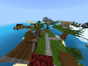 View of Spawn including safe house(s), stable, nether access, and fishing pier/harbor