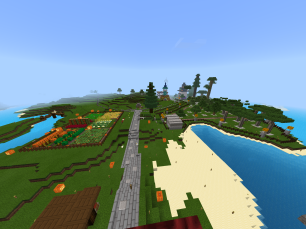 View of Spawn, including community farm, tre farm, and shopping district in distance