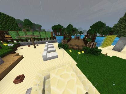 Neighborhood beach and fishing dock